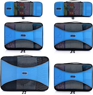 Pro Packing Cubes 6 Piece Lightweight Travel Cube Set of Compression Organizers