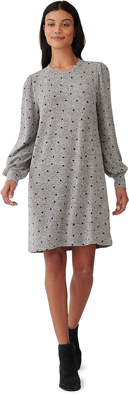 Lucky Brand Women's Puff Sleeve Crew Neck Knit Printed Dress