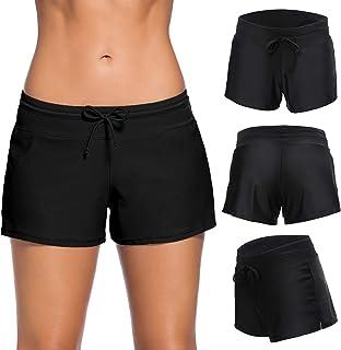 Women Sports Swimsuit Bottom Side Split Shorts Bikini Tankinis Swim Beach Board Swimwear Shorts with Soft Liner