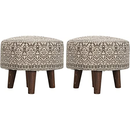 """Nestroots Stool for Living Room Sitting Set of 2 Printed Ottoman upholstered Foam Cushioned pouffe Puffy for Foot Rest Furniture with 4 Wooden Legs Cotton Canvas(14"""" inch Height Off White or Grey)"""