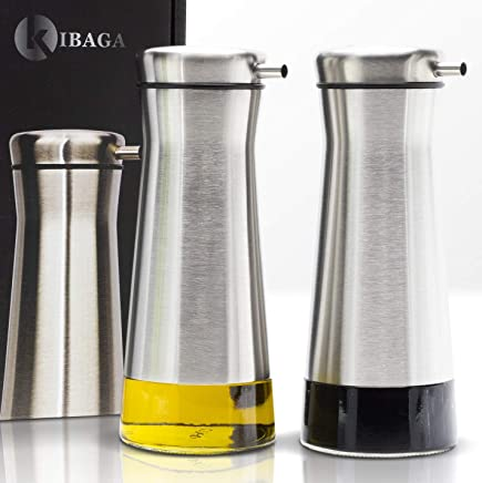 Elegant Olive Oil And Vinegar Dispenser Set of 2 - Gorgeous Stainless Steel Oil Container Cruet Set Guarantees Easy & Drip Free Pouring