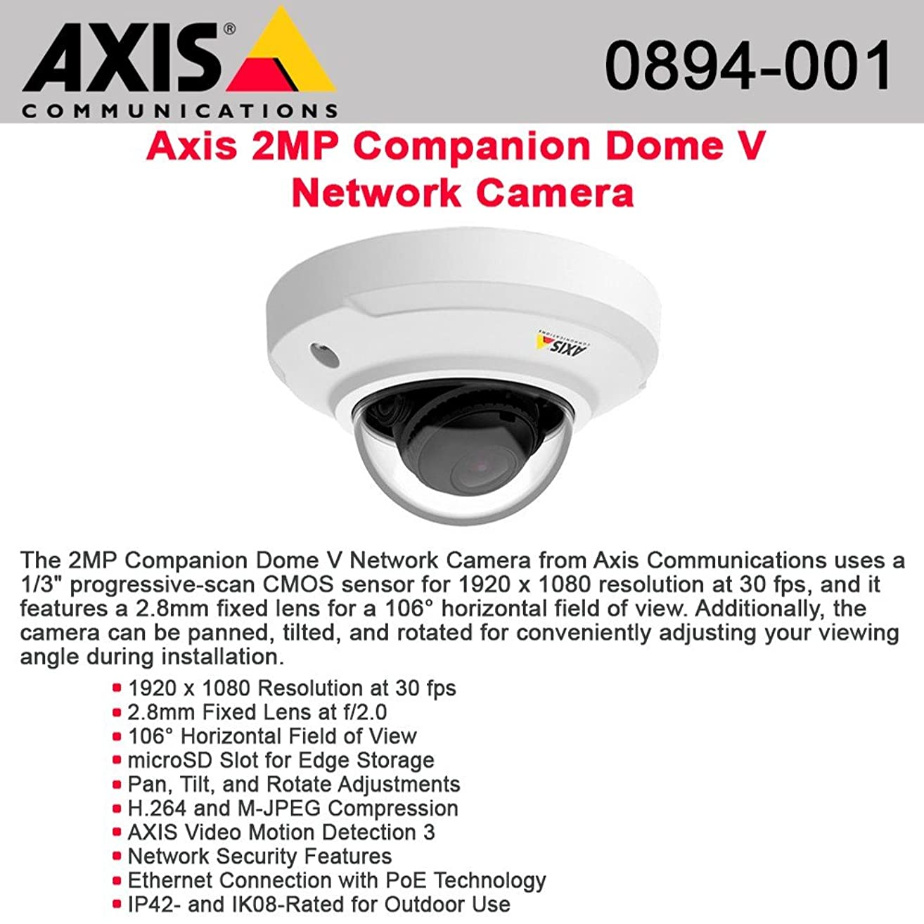 AXIS 0894-001 - AXIS 2 Megapixel Network Camera - Color - MPEG-4 AVC