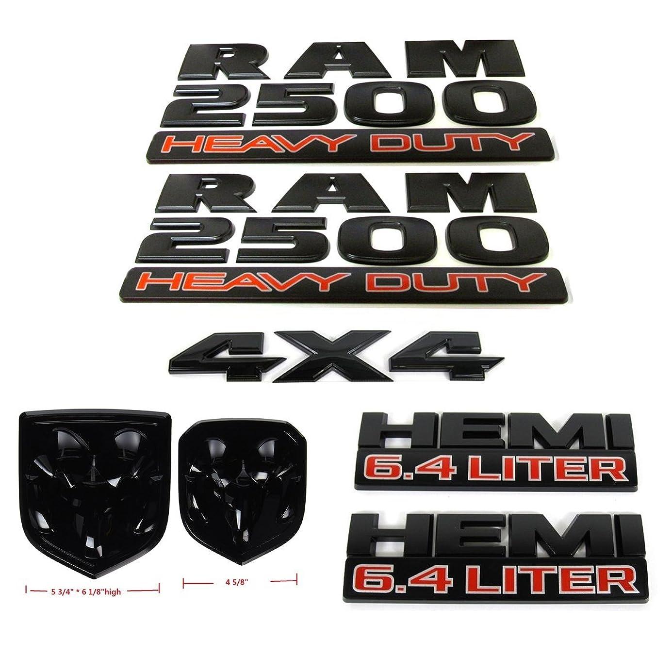 Set OEM Black RAM 2500 4X4 plus Grille Tailgate 6.4 Liter HEMI Emblems Badge Replacement for RAM 2500 2013-2018 Black nrrpue0280