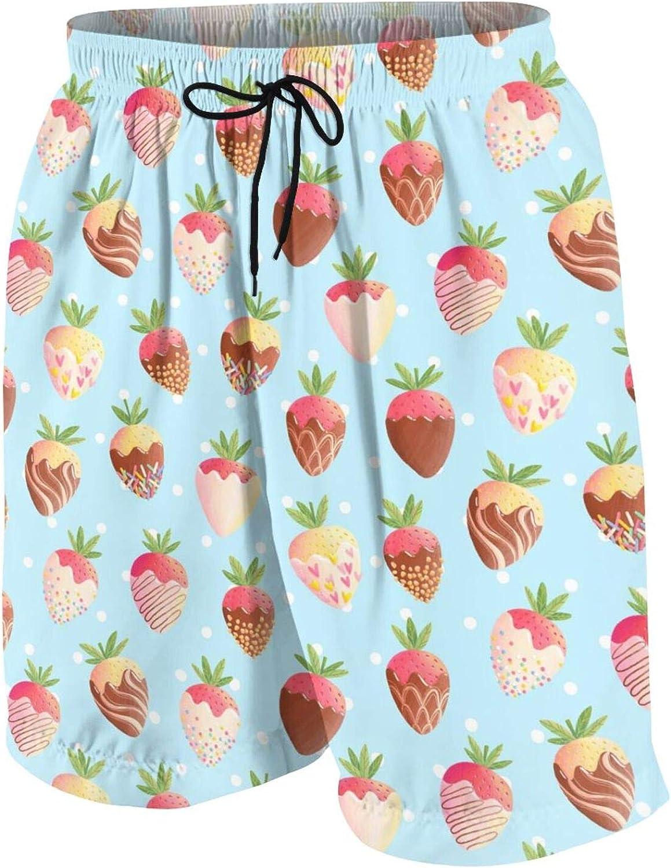 Strawberry in Chocolate Boys Swim Trunks Quick Dry Beach Board Swim Shorts Swimsuit Swimwear from 7T to 18