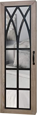 """FirsTime & Co. 81007 Rustic Arch Jewelry Armoire Accent Wall Mirror 43"""" x 14"""" x 3.5"""" Black, Brown"""