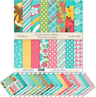 """Pattern Paper Pack - Paradise - Scrapbook Premium Specialty Paper Single-Sided 12""""x12"""" Collection Includes 16 Sheets - by ..."""