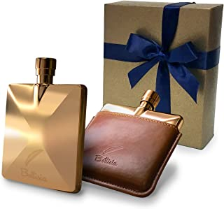 Flasks For Liquor by Bottisia 3 Oz Rose Gold Pocket Hip Flask With Stainless Steel Flask Funnel & Genuine Leather Pouch, a Luxury Gift Set For Men