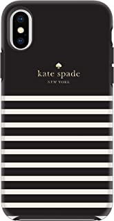 Kate Spade New York Black/Cream Feeder Stripe Case for iPhone X/XS - Soft Touch Protective Hardshell