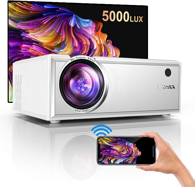 ProyectorYABER Mini Proyector WiFi2020 Actualizado Proyector Portátil 5000 Lúmenes Soporta Full HD 1080P Dolby Vídeo Proyector Cine en Casa con Altavoces Estéreo HiFi 60000 HorasHDMI USB VGA SD PS4