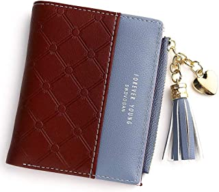 Wallet for Women Leather Short Wallet Bifold, RFID Blocking Wallet Credit Card Holder Organizer with Zipper Pocket Mini La...