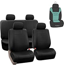 FH Group PU002114 Premium PU Leather Full Set Car Seat Covers, Airbag Compatible and Split Ready, Solid Black Color with Gift - Fit Most Car, Truck, SUV, or Van …