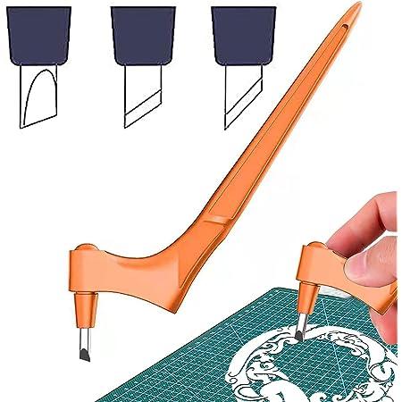 NICENEEDED Outils de Coupe artisanaux pour l'artisanat en Papier, Couteaux artisanaux en Acier Inoxydable Orange avec 3 pièces Lame rotative en Acier au Carbone à 360 degrés (15 °, 30 °, 45 °)