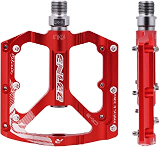 Acekit Bike Pedals Lightweight Aluminium Alloy with 9/16 Sealed DU Bearings Cr-Mo Spindle for Mountain Bike BMX Road Bike-Red