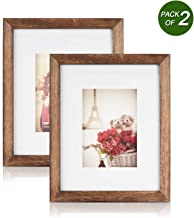 Emfogo 8x10 Picture Frames Display 4x6 Photo with Mat or 8x10 Without Mat Made of Solid Wood for Table Top Display and Wall Mounting Pack of 2