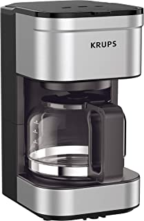 KRUPS KM202850 Simply Brew Compact Filter Drip Coffee Maker, 5-Cup, Silver