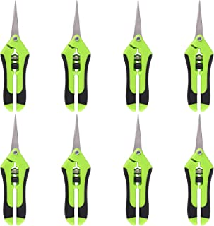 ZEONHEI 8 Pack 6.5 Inch Gardening Hand Pruner, Precision Tip Pruner with Straight Stainless Steel Blades, Pruning Shears H...