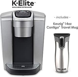 Keurig K-Elite Coffee Maker, Single Serve K-Cup Pod Coffee Brewer, Brushed Silver and Keurig 14 oz Contigo AUTOSEAL Travel Mug, Silver