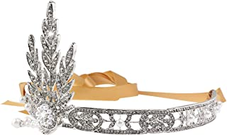 PIXNOR Matrimonio sposa Tiara foglia stile strass perla capelli fascia Fascia (argento)