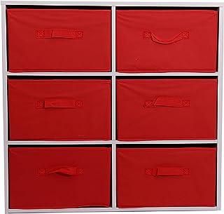 Caja de almacenamiento multicolor Rainbow 6 cajones extraíbles estante abierto estantes de tela no tejida sala de jueg...