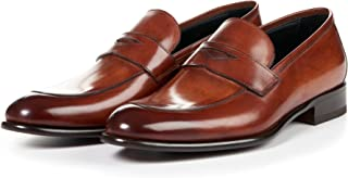 Paul Evans Stewart Penny Loafer Shoes for Men, Full-Grain Leather (Chocolate)