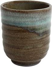 Mino ware Japanese Pottery Yunomi Chawan Tea Cup Sky Blue Glaze on Moss Green made in Japan (Japan Import) KSY002