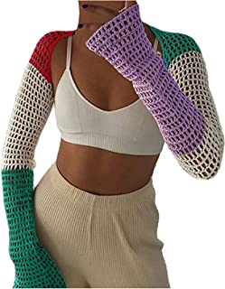 Janly Clearance Sale Pullover Hoodie Women, Women Hollow Out Navel Exposed Top Stitching Crochet Knitted Color Pullover To...