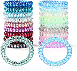 18 Pcs Spiral Hair Ties, Plastic Hair Ties Spiral No Crease and Colorful Phone Cord Hair Tie, Traceless Spiral Hair Ties for Women and Girls