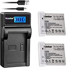 Kastar Battery (X2) & LCD Slim USB Charger for Canon NB-4L, CB-2LV and ELPH 100 HS, 310 HS, 300HS, 330HS, Powershot SD1400...