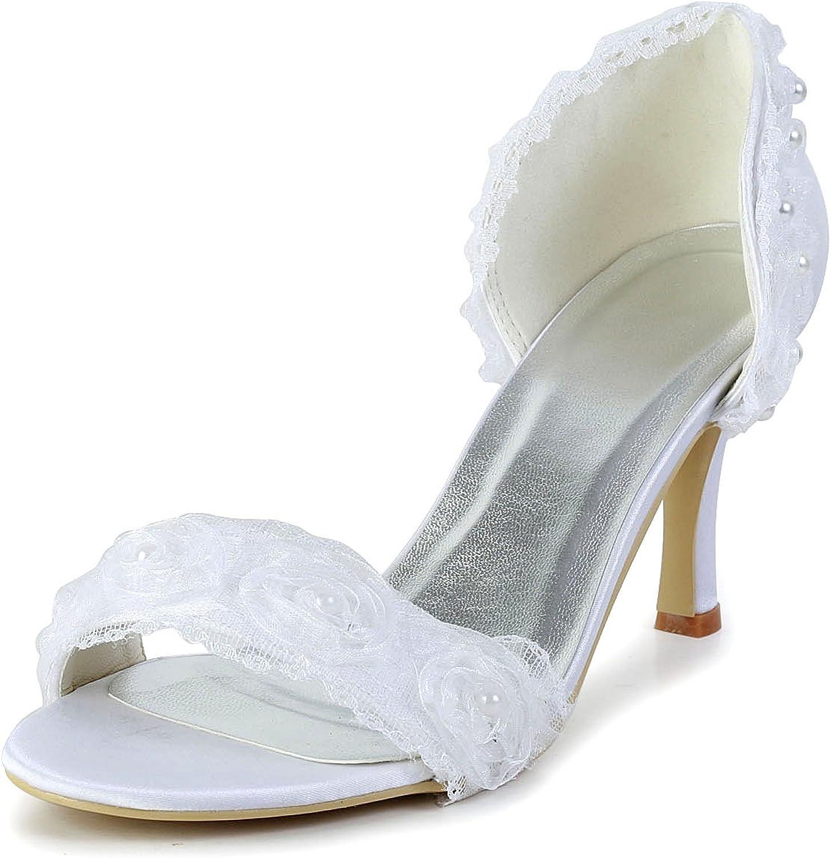 Minishion GYAYL429 Womens Stiletto Heel Flower Satin Evening Party Bridal Wedding shoes Sandals