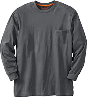 Boulder Creek Men's Big & Tall Heavyweight Crewneck Long-Sleeve Pocket T-Shirt