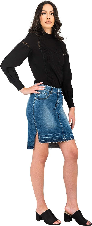 Standards & Practices Modern Women's High Low Released Hem Denim Mini Skirt