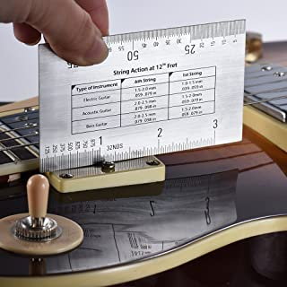 GoolRC String Action Ruler Gauge Tool in/mm for Guitar Bass Mandolin Banjo