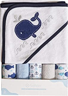 Softan Baby Hooded Bath Towel and Washcloths   Extra Soft and Ultra Absorbent   6 Pack Gift for Newborn and Infants