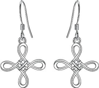 Women 925 Sterling Silver Celtic Knot Cross Dangle Earrings Irish Good Luck Hook Earrings