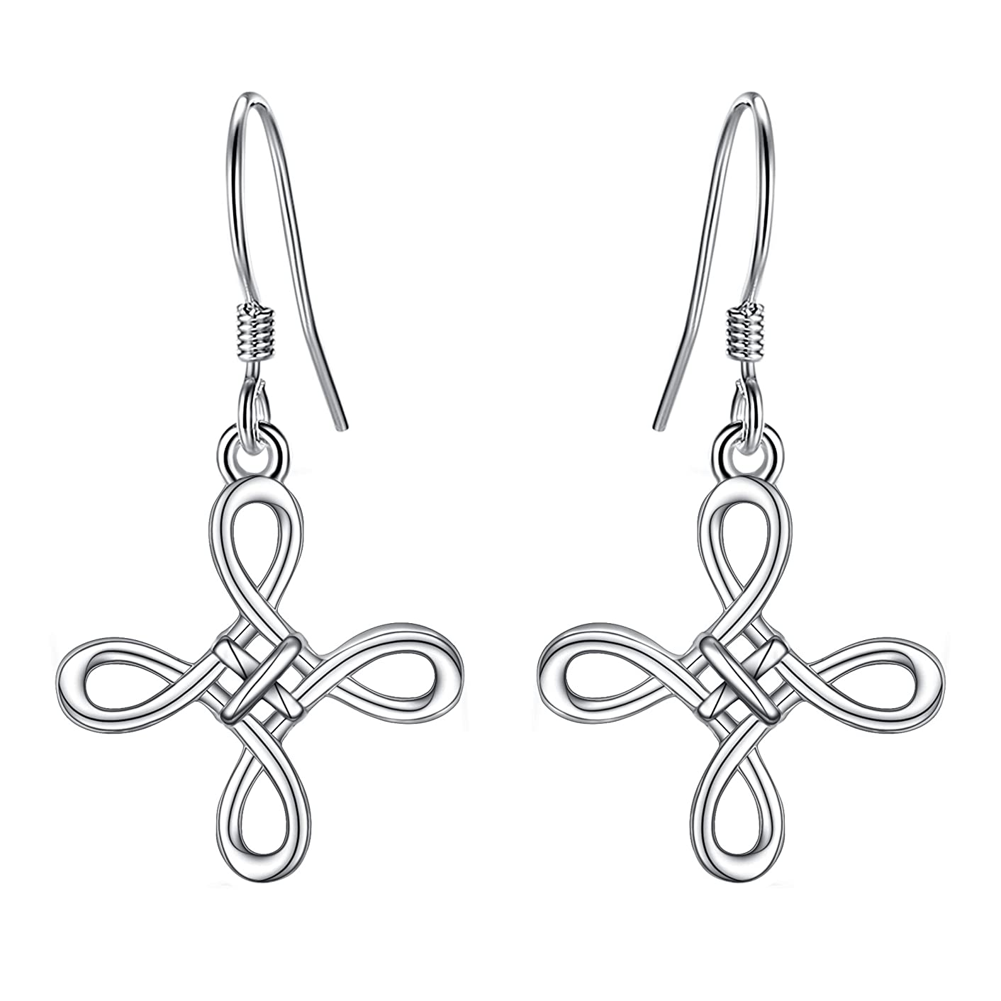 BriLove Women 925 Sterling Silver Celtic Knot Cross Dangle Earrings Irish Good Luck Hook Earrings
