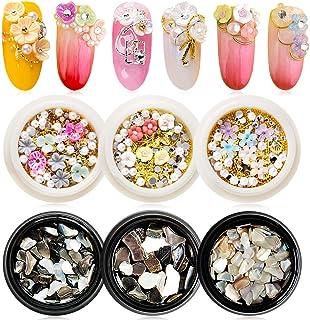 EBANKU 6 cajas de flores 3D mezcladas para decoración de uñas, diamantes de imitación, clavos dorados, piedras de concha t...