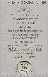 The Grandparent Gift Co. First Communion Walk His Way Pewter Coin with Sentiment Card
