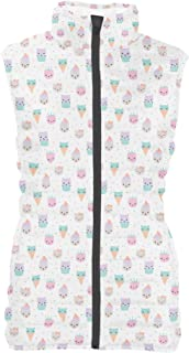Rainbow Rules Kawaii Kitty Icecreams Womens Puffer Vest Bodywarmer Gilet