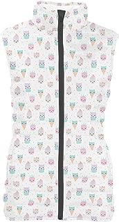 Rainbow Rules Kawaii Kitty Icecreams Womens Puffer Vest Bodywarmer Gilet