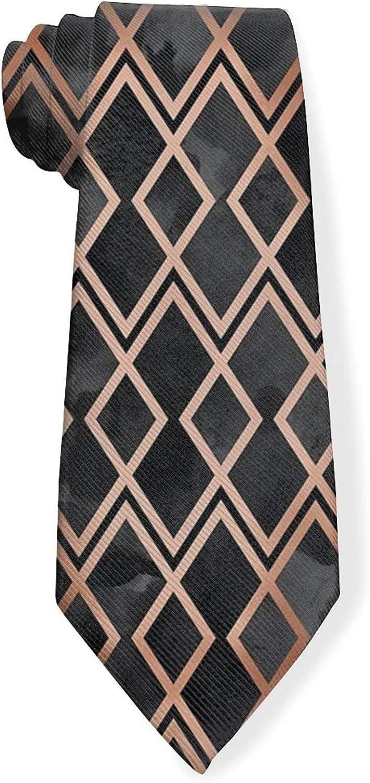 Copper & Black Diamonds Mens Classic Color Slim Tie, Men's Neckties, Fashion Boys Cravats