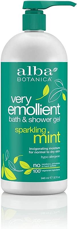 Alba Botanica Very Emollient Sparkling Mint Bath Shower Gel 32 Oz