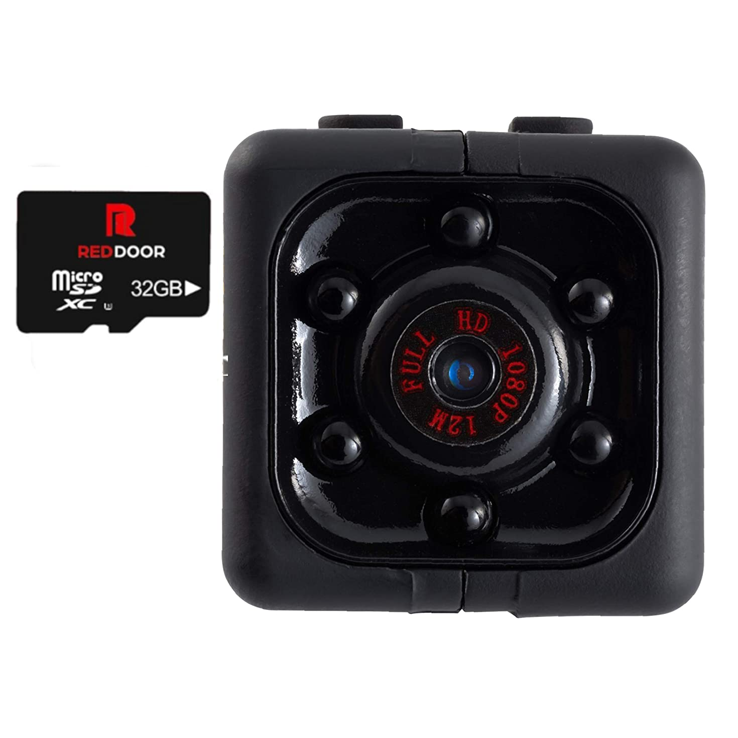 RED DOOR Mini Hidden Spy Camera Body Cam Dash Cam Nanny Cam Convert Security Camera Night Vision Motion Detection HD 1080P Smart Secret Safe Cam Drone Camera 32 GB Micro SD and Reader Included