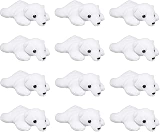 Wildlife Tree 12 Pack Polar Bear Mini 4 Inch Small Stuffed Animals, Bulk Bundle Zoo Animal Toys, Arctic Party Favors for Kids