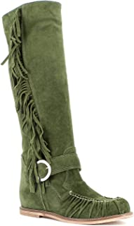 Once Made in Italy Donna Stivale in camoscio con Frange (Verde)