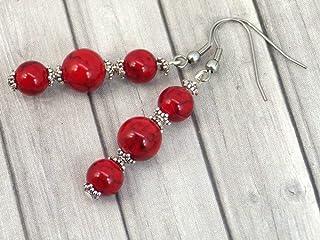 Orecchini pendenti in acciaio inossidabile con perle di turchese ricostituite rosse