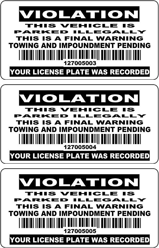 50 4 X 2 Consecutive Bar Code Numbered BLACK No Parking Stickers No Parking Labels Tow Away Zone