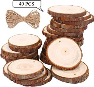 Wood Slices TICIOSH Natural Wood Slices 2.0-2.4 inches 40 Pcs Drilled Hole Unfinished Log Wooden Circles for DIY Crafts Wedding Decorations Christmas Ornaments