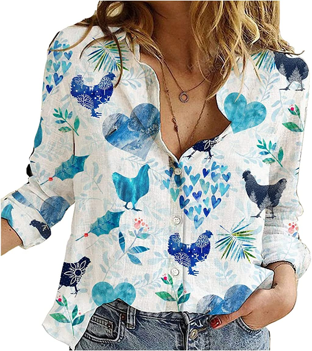 Chicken Cotton Linen Shirt Winter Hearts Womens Long Sleeve Button Down Cotton Linen Shirt Blouse Loose Fit Casual V-Neck Tops Full Size
