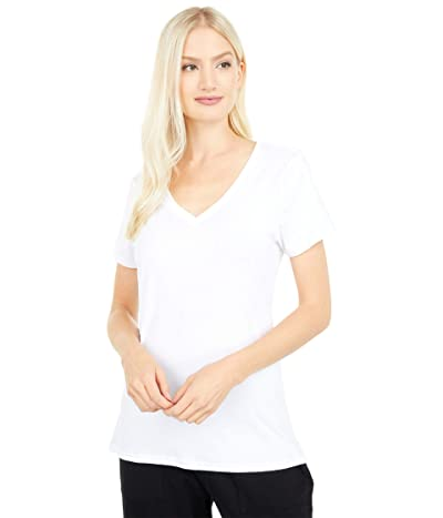 PACT Organic Cotton Midweight V-Neck Tee (White) Women