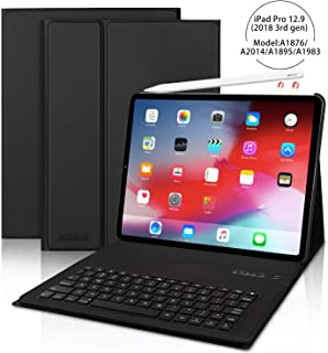 iPad Pro 12.9 Keyboard Case for Pro 12.9 Inch 2018(3rd Gen), [Support Pencil Charging] Detachable Wireless Keyboard Stand Folio Cover, and Strong Magnetic Stand Folio Case, Auto Wake/Sleep, Black